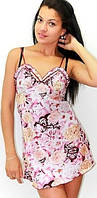 Шелковая ночная сорочка с рюшами, красивая одежда для дома и сна. Женский пеньюар, размеры 42 - 48.