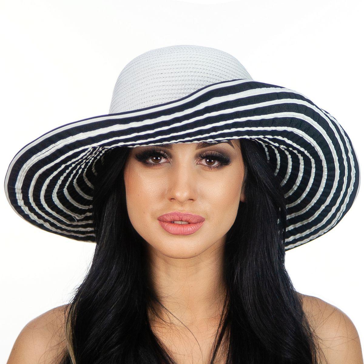 Женская шляпа  ширина поля 14 см тулья белая поля в полоску
