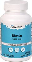 Биотин, Vitacost, Biotin, 7500 мкг, 60 таблеток