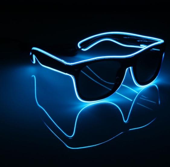Очки светодиодные  солнцезащитные El Neon ray blue неоновые