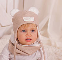 "Бежевый деми комплект шапка и снуд для мальчика  ""Эмиль"", 44, 46, 48, 50, 52"