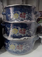 Набор эмалированных кастрюль из 5шт со стеклянными крышками  Swiss Family