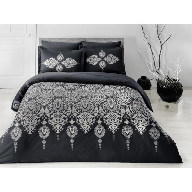 Постельное белье Tac сатин Delux - Rados siyah v03 черный семейное