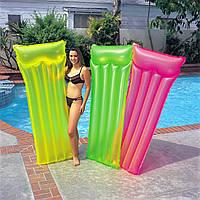 Пляжный надувной матрас Intex 59717. 3 цвета, 183-76 см