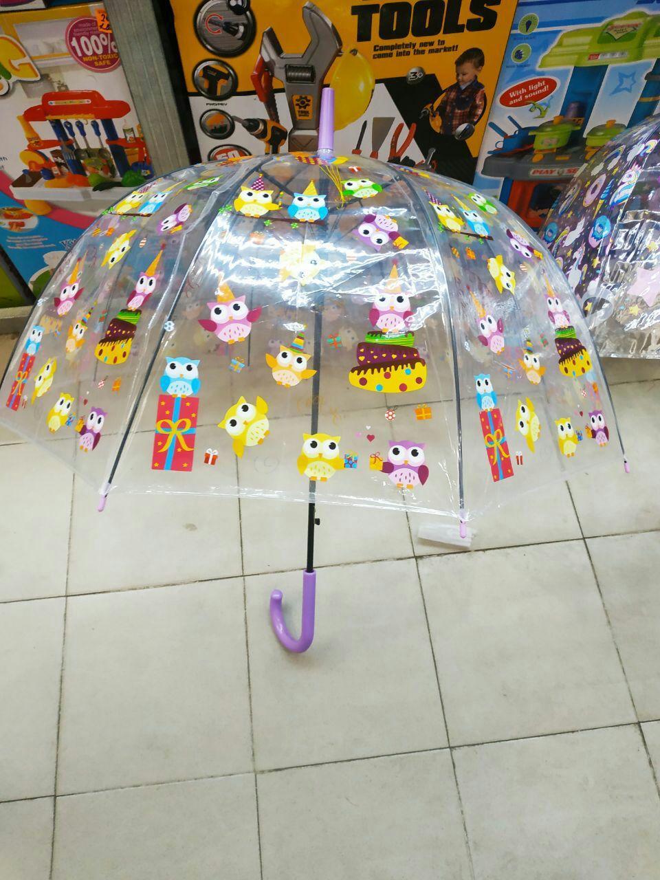 Детский прозрачный зонт трость для девочек Сова ТОП Качество