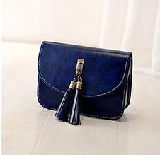 Женская маленькая синяя сумочка с кисточками