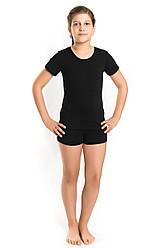 Детский спортивный комплект ФУТБОЛКА и ШОРТЫ для девочек (3-13 лет) трикотажный черный