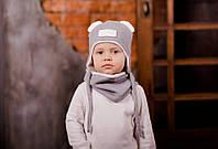 """Серый комплект на осень весну, шапка с ушками и снуд для мальчика  """"Эмиль"""", 44, 46, 48, 50, 52"""