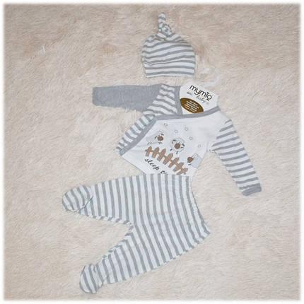 Комплект для новорожденных на выписку  (распашонка, штанишки, шапочка) размер 56 62, фото 2