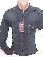 Рубашка мужская с длинным рукавом Red Lain 0004 джинсовая синяя приталенная стрейч коттон Турция