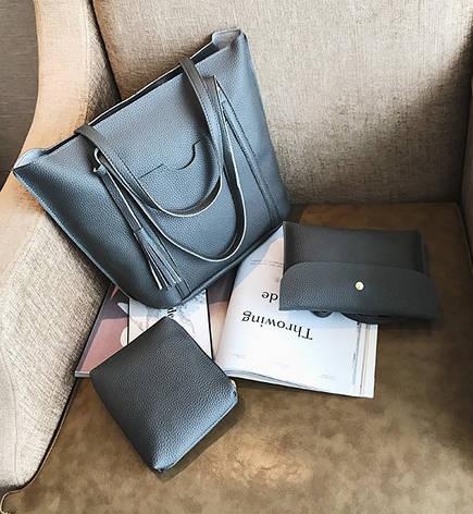 Жіноча темно-сіра сумка. Набір 4в1 + маленька сумочка + гаманець, фото 2