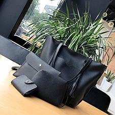 Жіноча темно-сіра сумка. Набір 4в1 + маленька сумочка + гаманець, фото 3