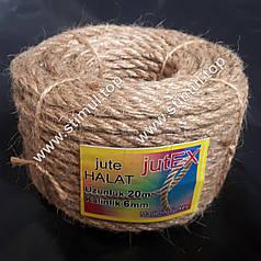 Канат джутовый кручёный 6 мм х 20 м (мотузка джутова, пеньковий канат) – Верёвка Турция
