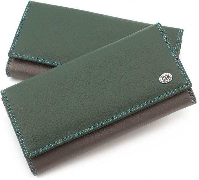 Зелений гаманець матовий шкіряний ST високої якості. Від постачальника SB634 Green