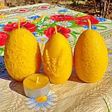 """Пасхальная восковая свеча """"Яйцо с кружевами"""" из натурального пчелиного воска, фото 3"""