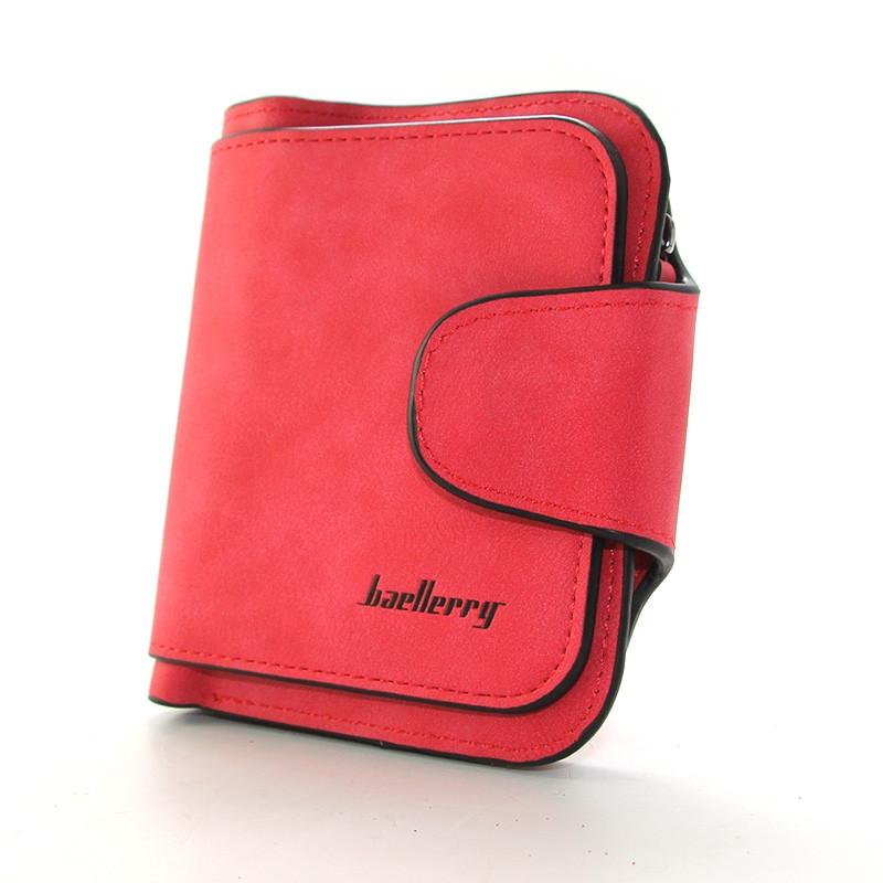 Червоний гаманець маленький жіночий на кнопці