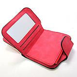 Красный кошелек маленький женский на кнопке, фото 3
