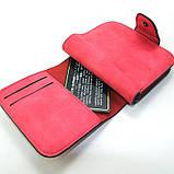 Красный кошелек маленький женский на кнопке, фото 5