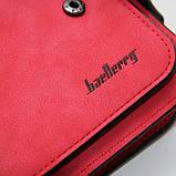 Красный кошелек маленький женский на кнопке, фото 7