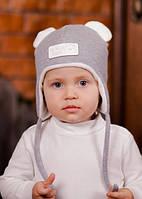 """Шапка серая для мальчика на весну осень с ушками, шапка мишка """"Эмиль"""", 44, 46, 48, 50, 52"""