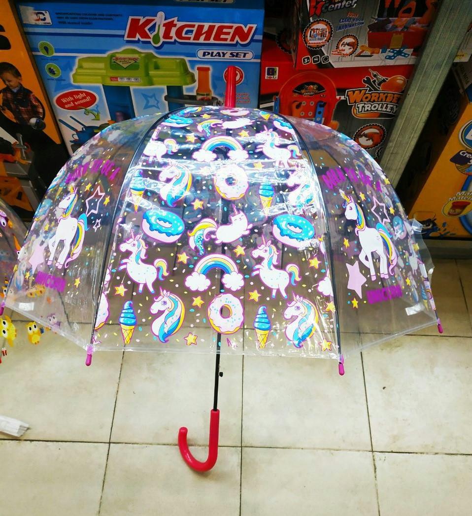 Детский прозрачный зонт трость для девочек Пони ТОП Качество