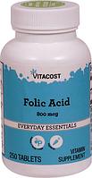 Фолиевая кислота, Vitacost, Folic Acid, 800 мкг, 250 таблеток