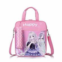 Школьный рюкзак розового цвета для девочки + пенал