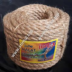 Канат джутовый кручёный 8 мм х 20 м (мотузка джутова, пеньковий канат) – Верёвка Турция