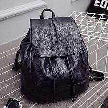 Женский рюкзак черный на шнурке экокожаом дешево