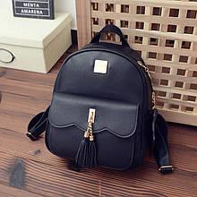 Женский рюкзак черный с кошелечком из экокожи