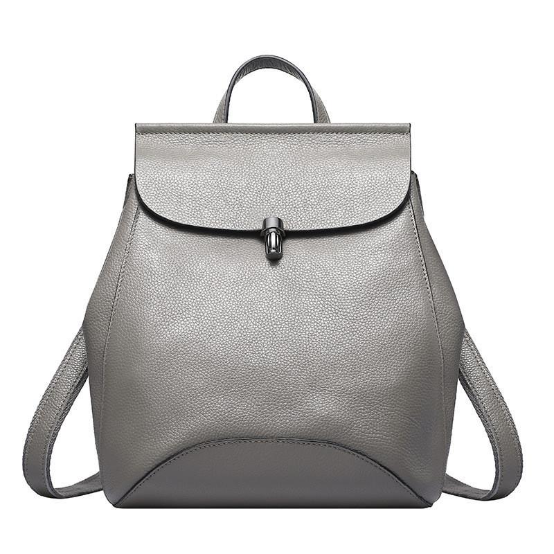 757e489b4063 Женский стильный рюкзак-сумка из натуральной кожи серый - eLook - магазин  для стильных в