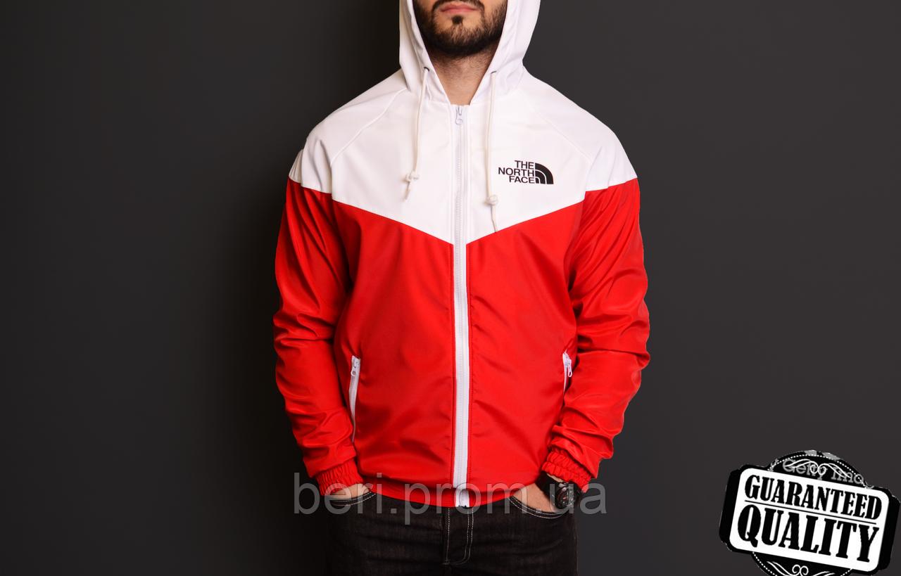 Мужская ветровка The North Face | куртка Виндранер | Чоловіча вітрівка Норз Фейс Віндранер (Красно-Белый)