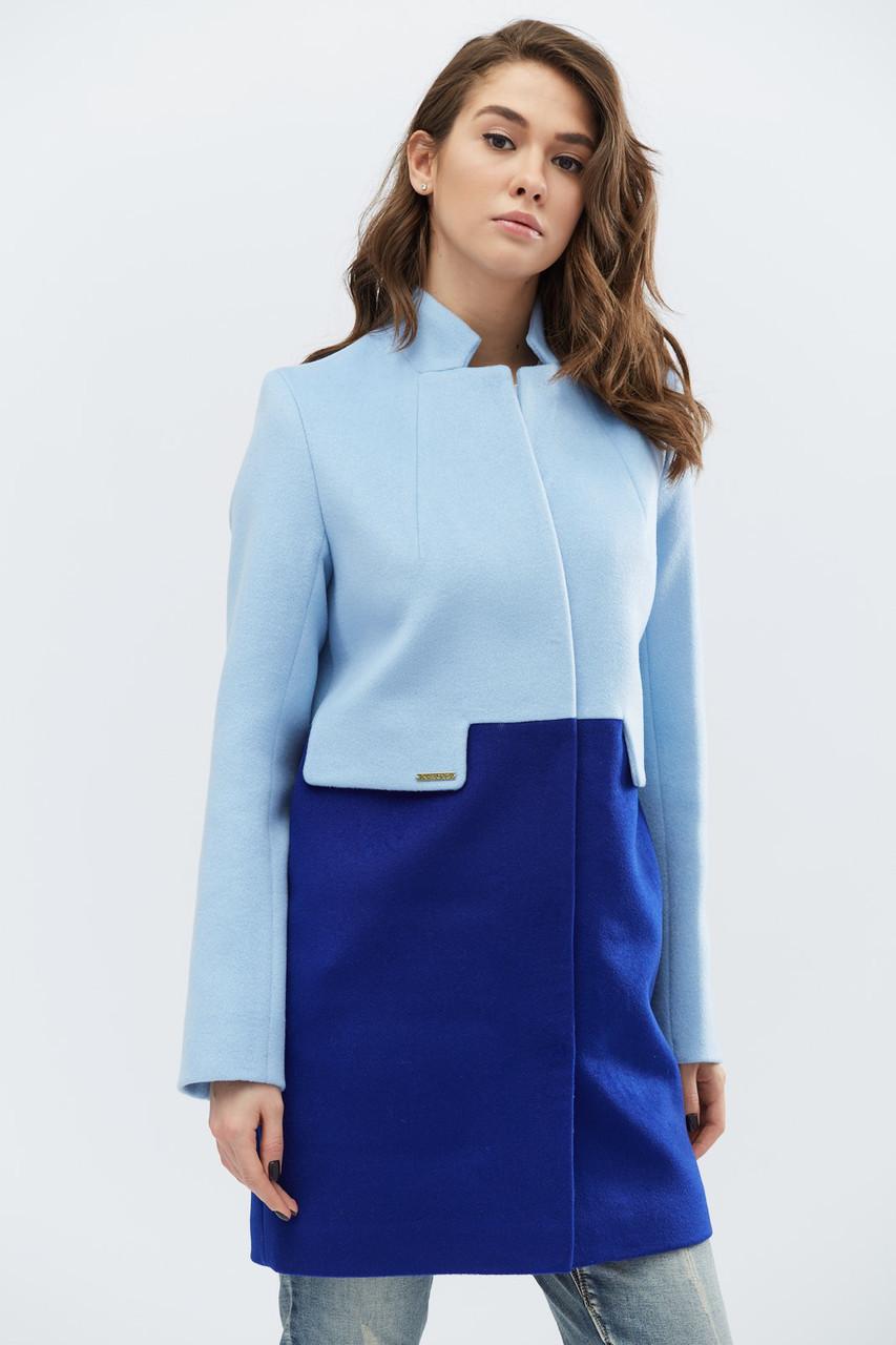 Пальто женское демисезонное PL-8624-11, (Голубой-электрик), 48р