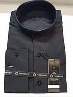 Черная приталенная рубашка с воротником-стойкой FIORENZO (размеры S,XL + под заказ)