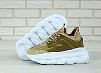 Кроссовки женские Versace Chain Reaction Sneakers реплика ААА+ (нат. замша) р. 36-40 желтый (живые фото)
