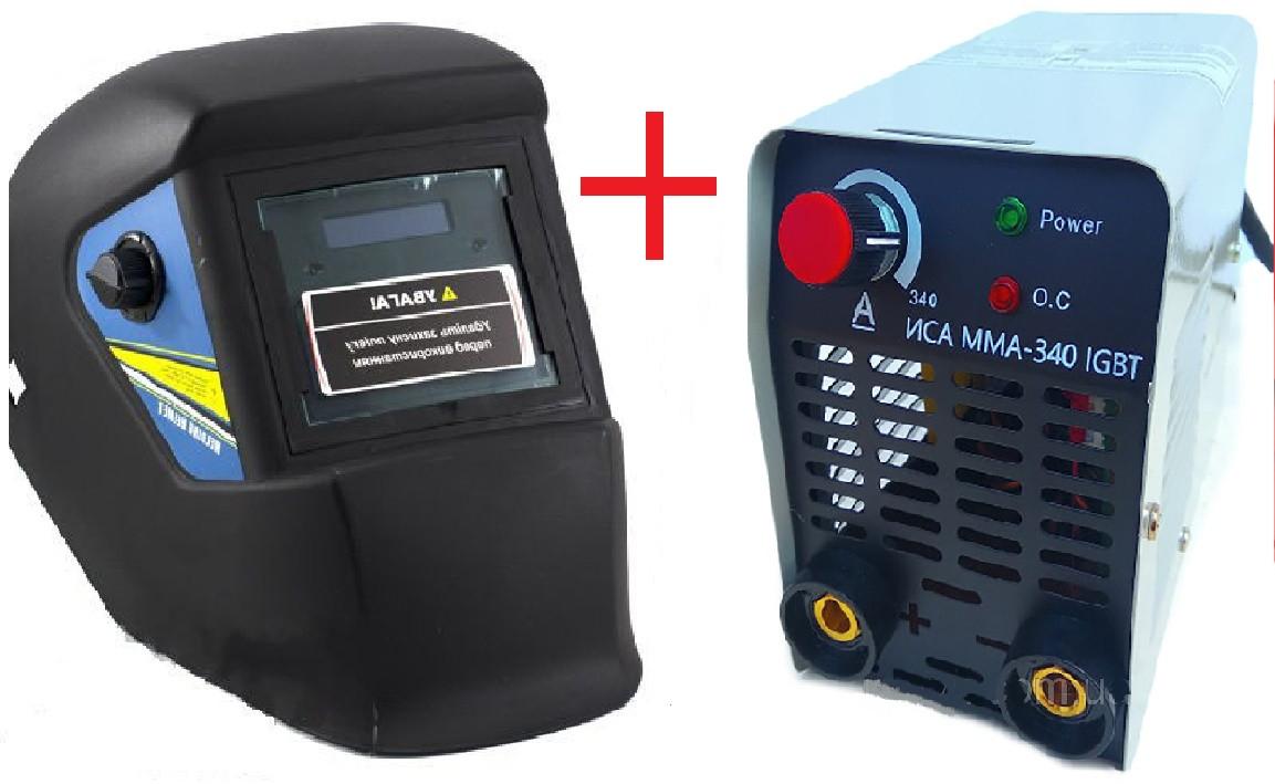 Сварочный аппарат инверторный Уралсталь ИСА ММА-340 + Сварочная маска Витязь МС-1 (хамелеон)
