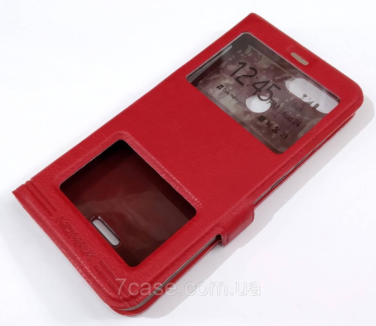 Чехол книжка с окошками momax для Xiaomi Redmi 6 красный