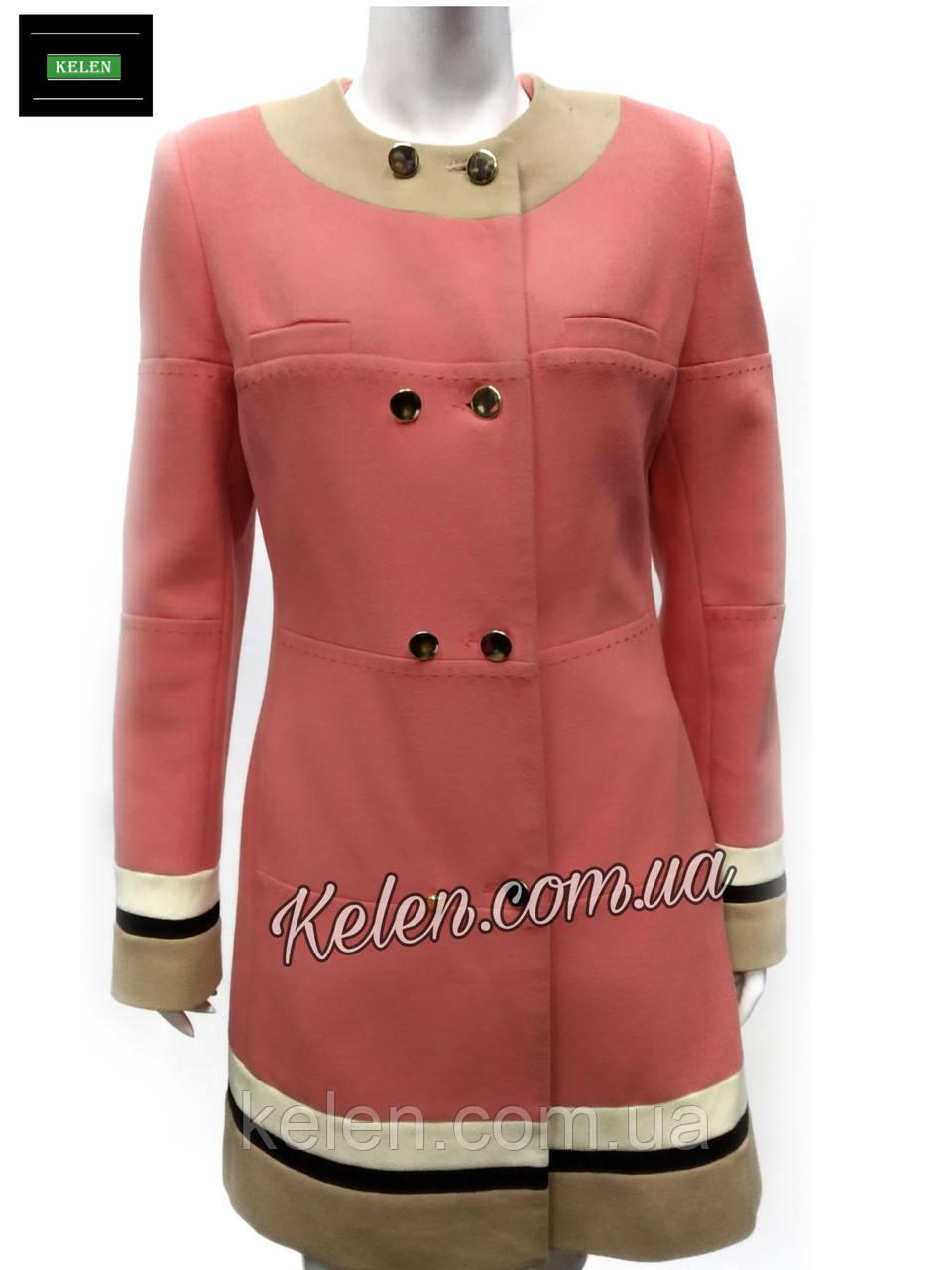 Женское пальто деми коралового цвета 46 размер