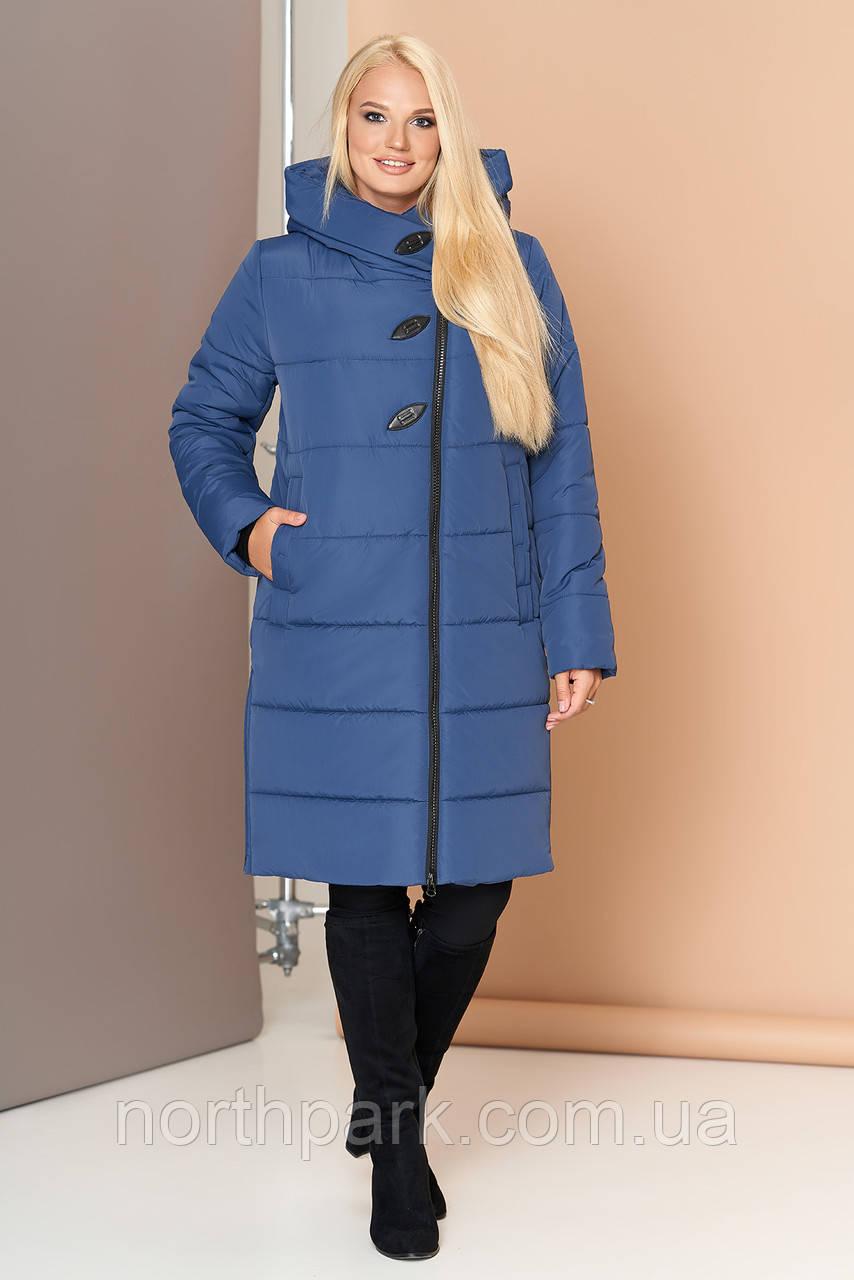 Довга зимова куртка VS 191, блакитна