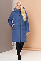 Довга зимова куртка VS 191, блакитна, фото 1