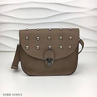 a56c5ef4dbea Маленькая женская сумочка через плечо сумка кросс-боди Заклепки экокожа  коричневая 11369/1