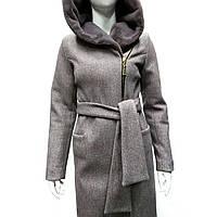 Пальто женское с капюшоном серое в Украине. Сравнить цены 32b4bd3e9b527