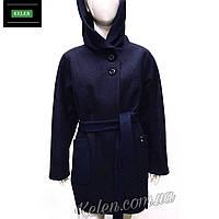 Женское пальто с капюшоном синего цвета c3b4cee1eb6c0