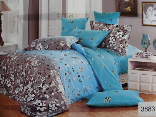 Сатиновое постельное белье полуторное  ELWAY 3883