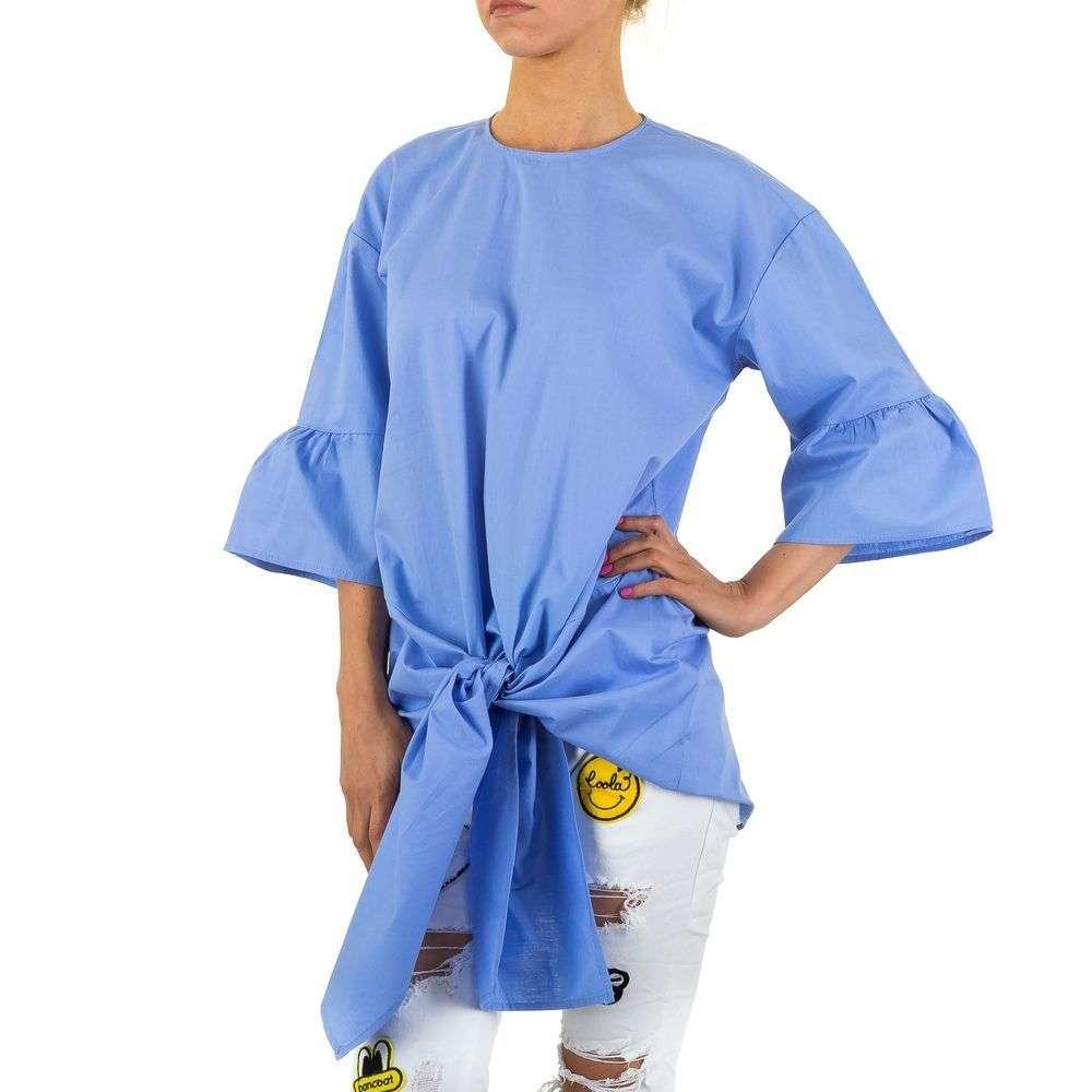 Женская удлиненная блузка с завязками спереди  (Европа) Голубой