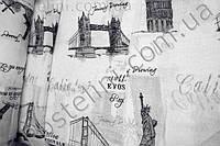 Гардина тюль c рисунком лен Вояж молочный P-3252 Ткань