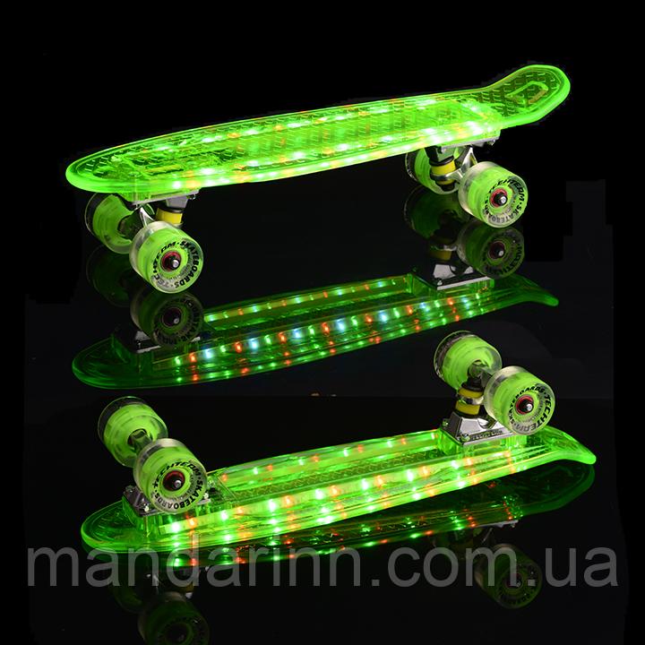Скейт Пени Борд Салатовый с МУЗЫКОЙ и с LED-подсветкой и светящимися колесами