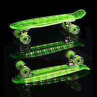 Скейт Пени Борд Салатовый с МУЗЫКОЙ и с LED-подсветкой и светящимися колесами, фото 1