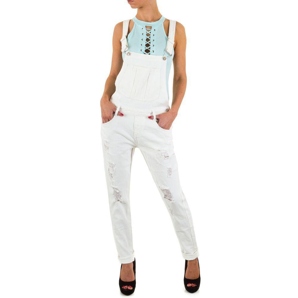 Женский джинсовый комбинезон рваный Semaforo Denim (Португалия), Белый