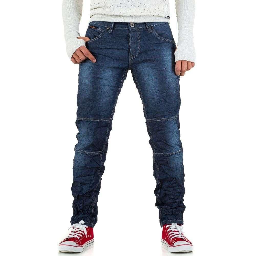 Прямые джинсы мужские мятые Wangue Jeans (Европа), Синий